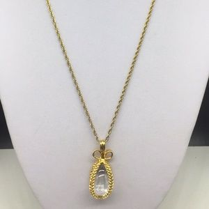 Joan Rivers Gold Faberge Glass Pendant Necklace